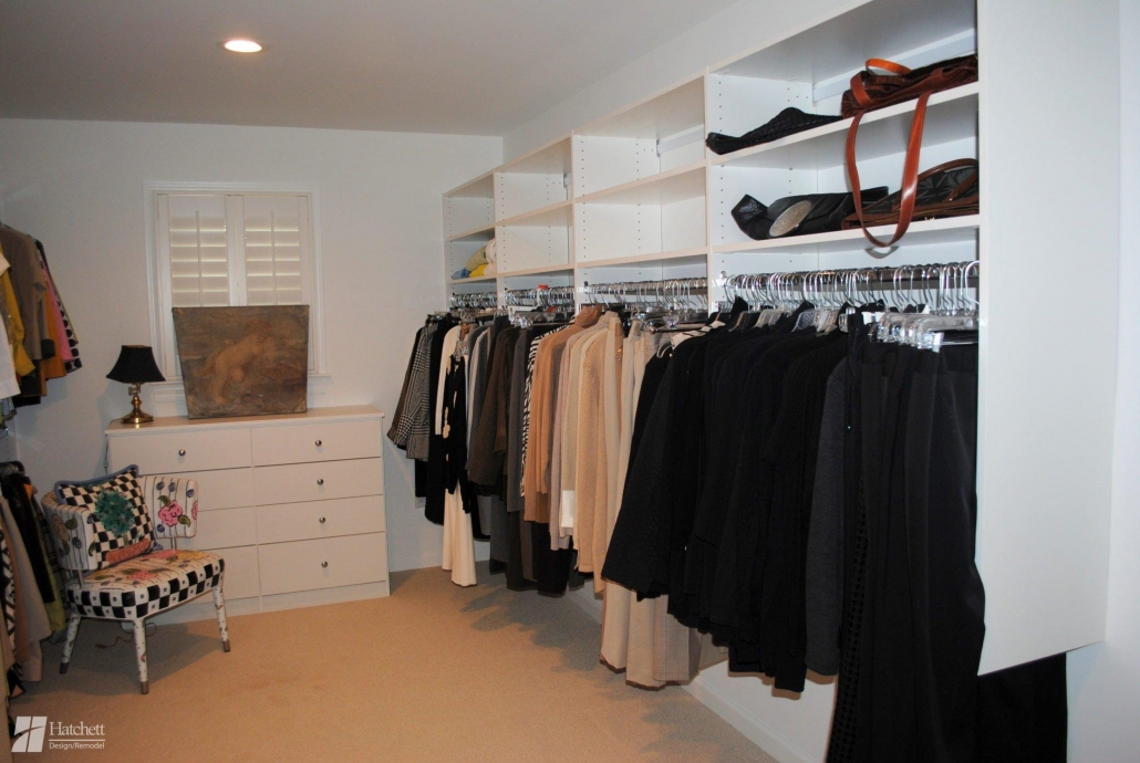 Hatchett renovated this master bathroom with a luxury walk-in closet. Check out this spacious and beautifully organized renovation.