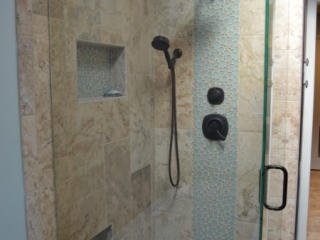 Bathroom Remodel Shower Tile with Deco Accent