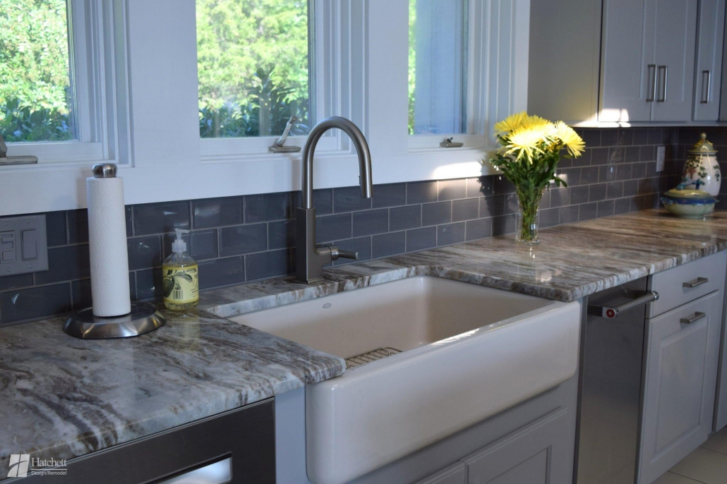 Kitchen Remodel Tile Backsplash and Apron Sink