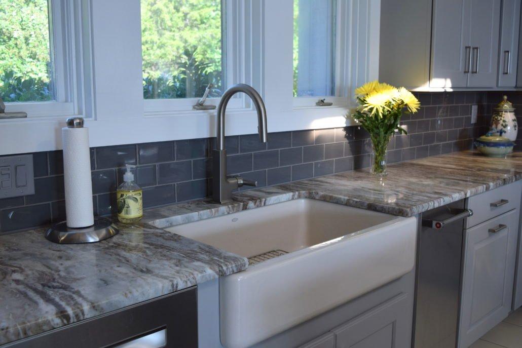 Kitchen Remodel Tile Backsplash and Apron Sink