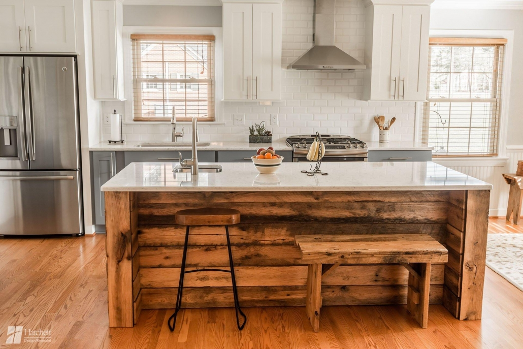 Kitchen island and bench constructed from reclaimed wood from the Carr's family barn.