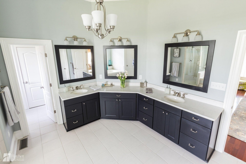 Bathroom Remodel Custom Vanity with Double Sinks and Ample Counter Space