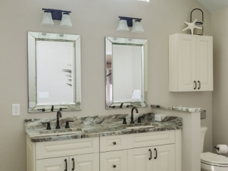 double vanity with granite countertops and undermount bathroom sinks