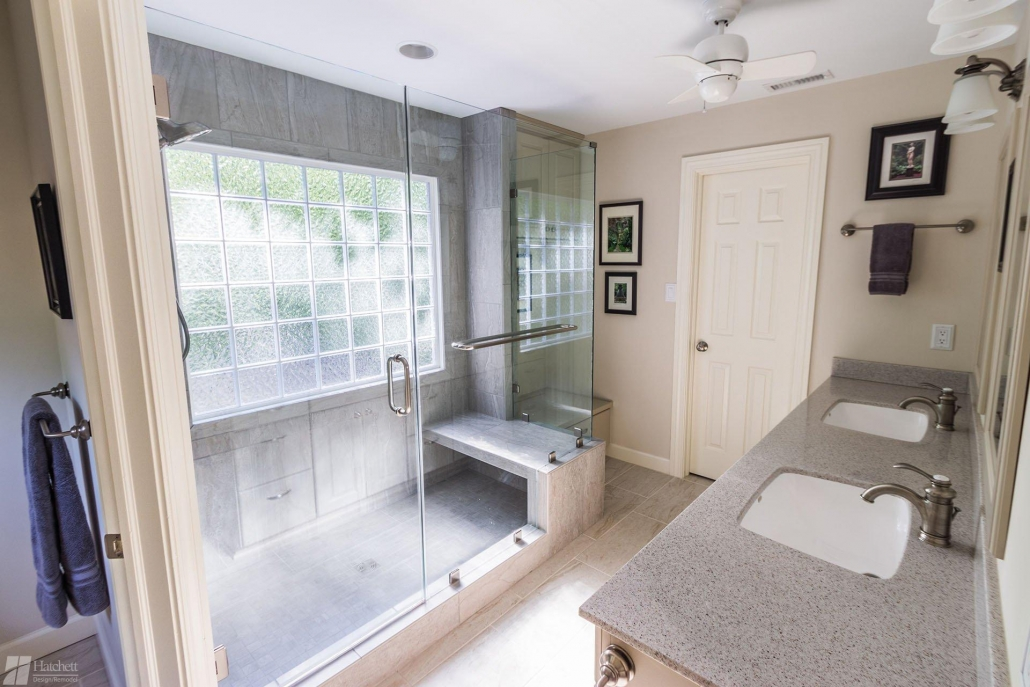 Bathroom Remodel Glass Enclosure with Glass Block Window