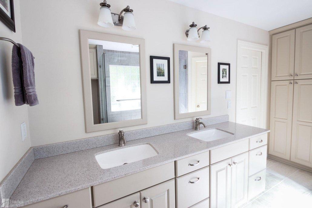 Bathroom Remodel Built-in Storage Cabinet and Double Vanity
