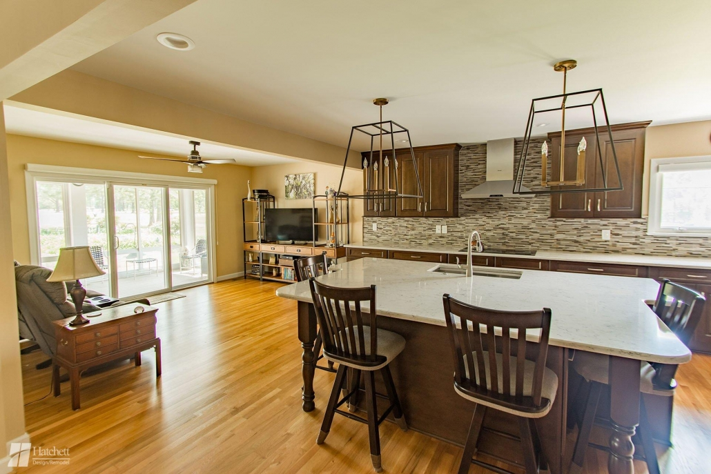 Opening the walls between the kitchen and living areas allowed Hatchett to include a large kitchen island in the remodeled space.