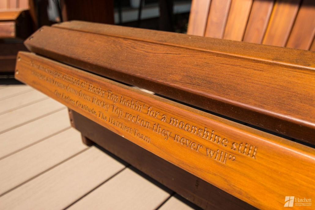Gamache Exterior - Custom quote on wood chair