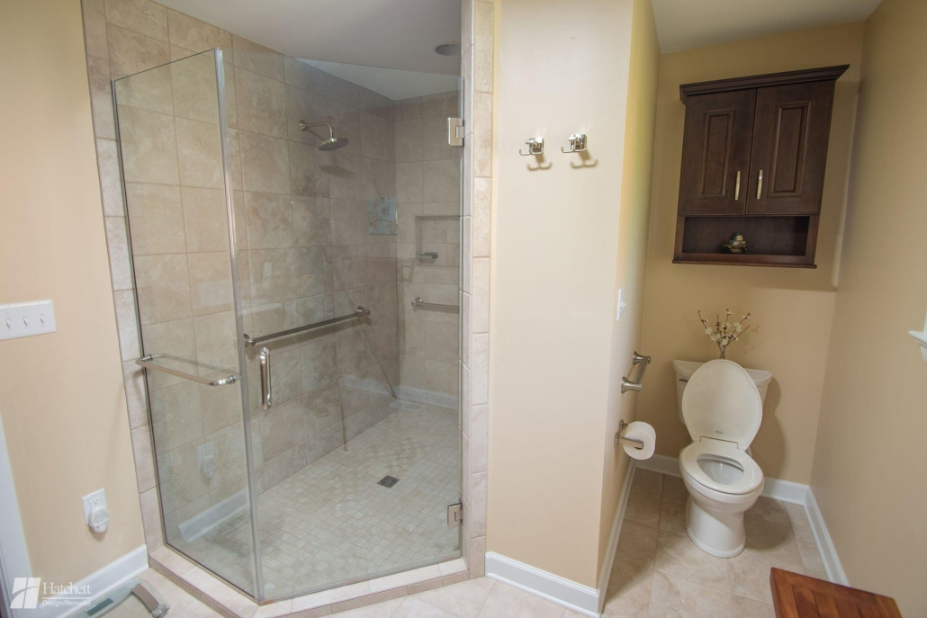Bathroom Remodel Aging In Place Large Walk-In Shower with Grab Bars