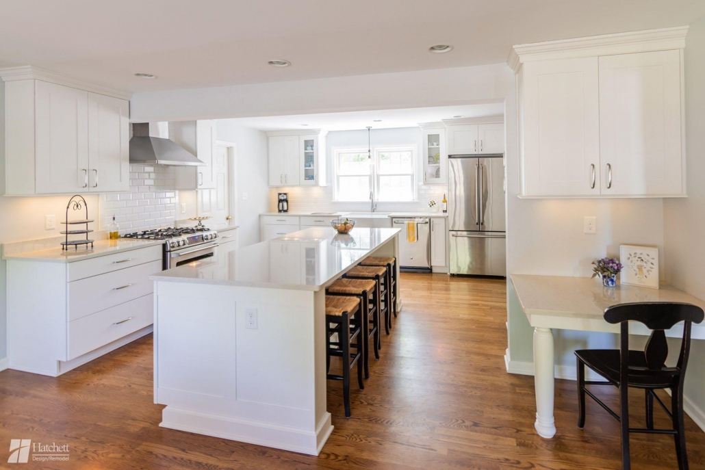 Kitchen remodel with white cabinets and light gray walls
