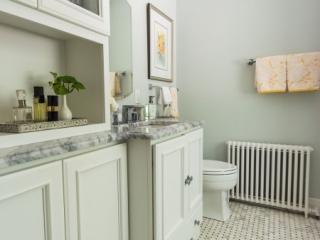 Bathroom Remodel Built-In Cabinet with Glass Doors