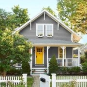 Curb Appeal Gray House with Yellow Door