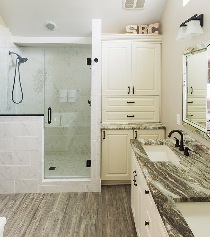 Remodeled Bathroom Shower And Vanity