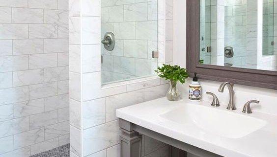 Bathroom Sink with Open Vanity and Walk-In Shower