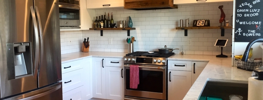 Sower Kitchen Remodel After Including Exposed Wood Exhaust Hood