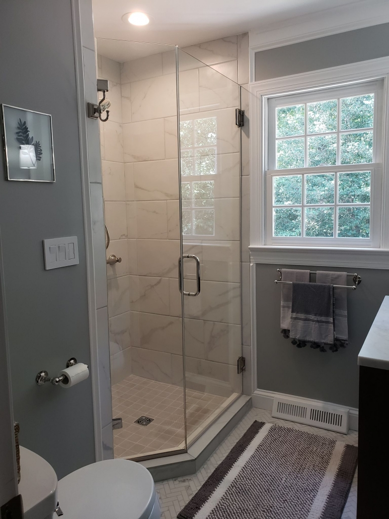 Guest Bath Remodel Shower Frameless Glass Enclosure