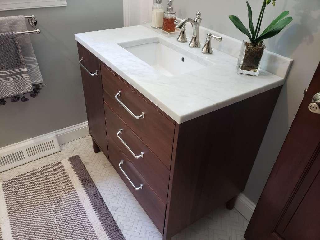 Bathroom Remodel Furniture Style Vanity Wood Tone Marble Top