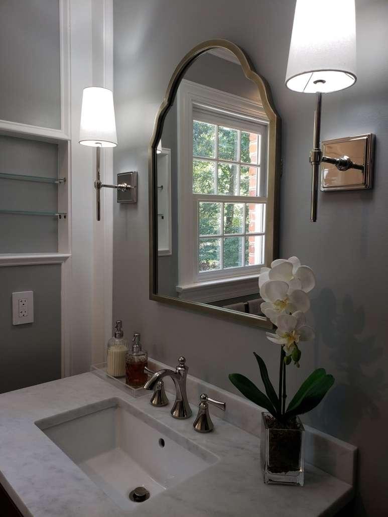 Bathroom Remodel Vanity Mirror Wall Sconces Marble Tops Polished Nickel Fixtures