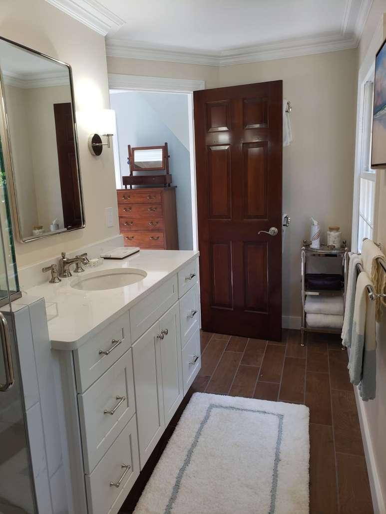 Master Bath Remodel Vanity White Cabinet Plank Tile Floor