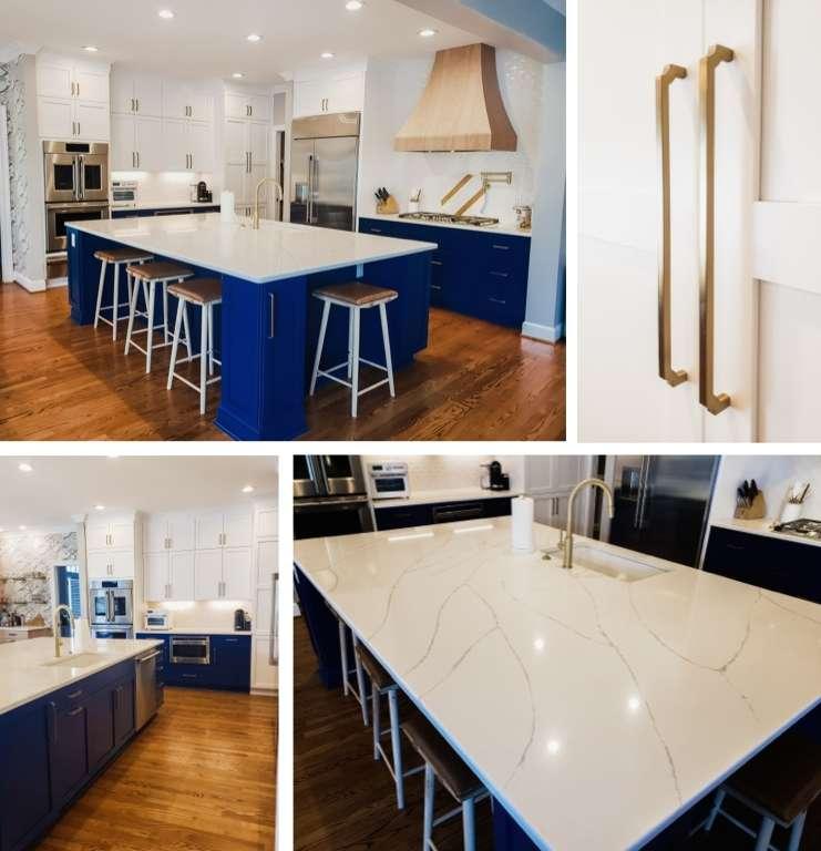 Kitchen Two-Tone Cabinets Large Island Quartz Tops