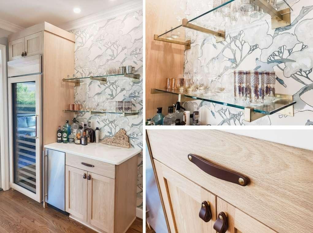 Kitchen Bar Remodel Wine Refrigerator Wallpaper